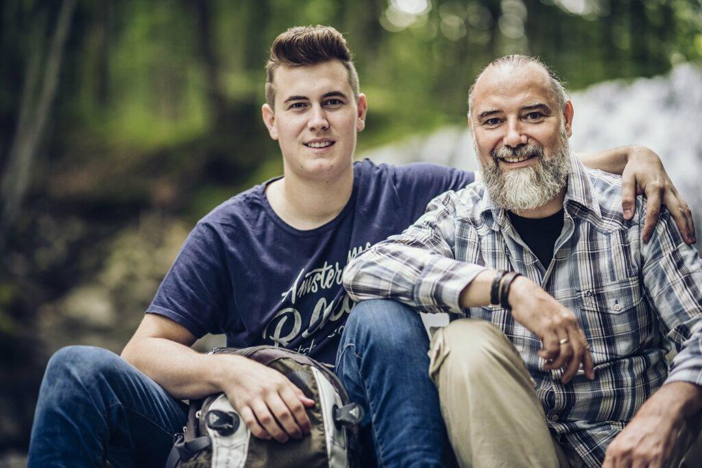 Andreas Seltmann mit seinem Sohn auf Reisen